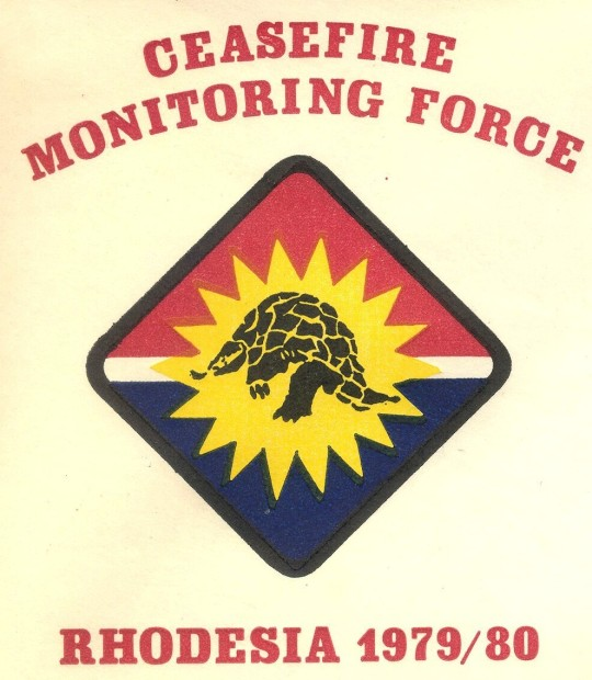 The sponsor of this cover is not clear, and it carries ordinary Rhodesian stamps and cancellations. But the postmark date (March 3, 1980) was the last day of the so-called Election Period, the final active phase of the Rhodesian Ceasefire Monitoring Force , whose operational patch this was.