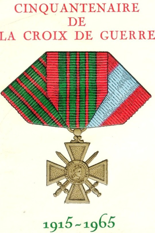 "From a French cover issued for the anniversary of the Croix de Guerre (War Cross), an important military decoration. The three ribbons represent the three versions of the decoration: that for World War I (left), for World War II (center), and for service in ""external theatres of operations,"" mostly French colonies."