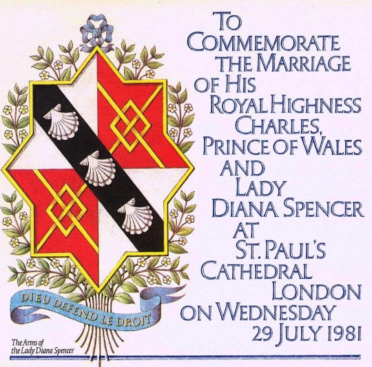 A beautiful rendition of the maiden arms of Lady Diana Spencer, on a commercially issued cover marking her 1981 wedding to Prince Charles.