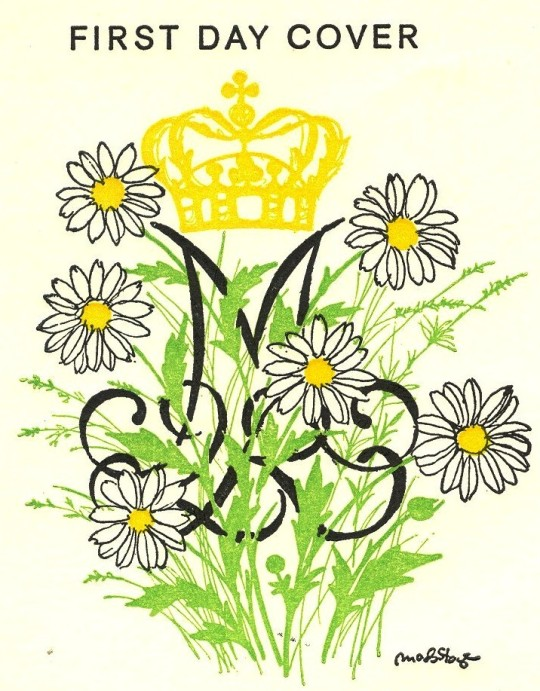 An exuberant privately issued design based on the royal cypher of Queen Margrethe II of Denmark. The daisies are a play on her name (The associated stamps were part of a definitive issue – that is, not commemoratives, but just ordinary stamps with the Queen's portrait.
