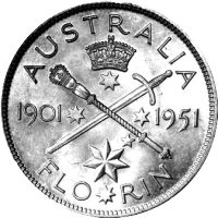 1951 Australian Jubilee Florin